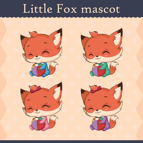 Conjunto de mascote de raposa bebê fofo - pose alegre vetor