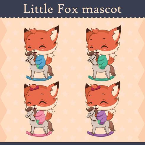 Conjunto de mascote de raposa bebê fofo - pose feliz vetor