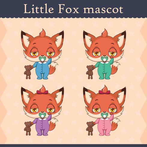 Conjunto de mascote de raposa bebê fofo - pose sonolento vetor