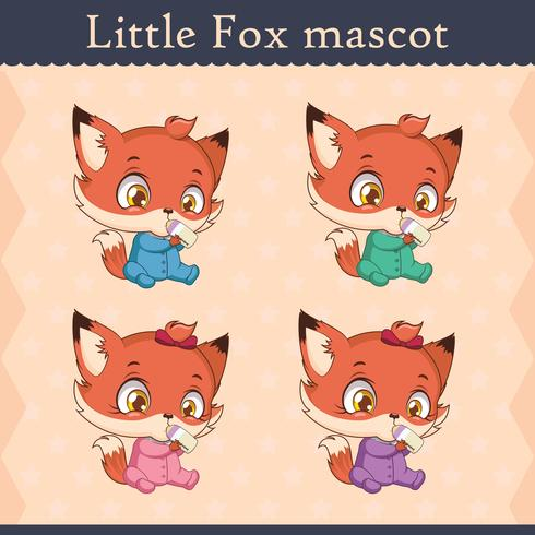 Conjunto de mascote de raposa bebê fofo - beber pose v2 vetor