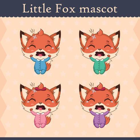 Conjunto de mascote de raposa bebê fofo - pose de chorar vetor