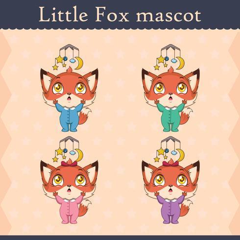 Conjunto de mascote de raposa bebê fofo - pose distraída vetor