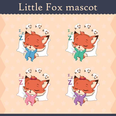 Conjunto de mascote de raposa bebê fofo - pose de dormir vetor