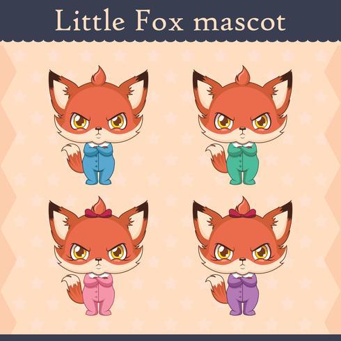Conjunto de mascote de raposa bebê fofo - pose de beicinho vetor