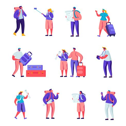 Conjunto de turistas plana viajando ao redor do mundo de personagens. Pares dos povos dos desenhos animados com o mapa de observação da bagagem, fazendo Selfie, visitando e fotografando. Ilustração vetorial. vetor