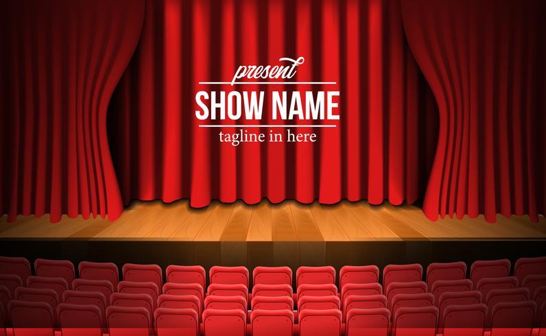 palco com cortina vermelha e assentos vermelhos vazios vetor