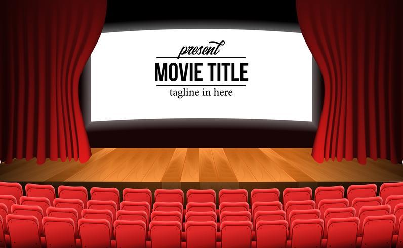 palco com cortina vermelha e piso de madeira e assentos vermelhos vazios vetor