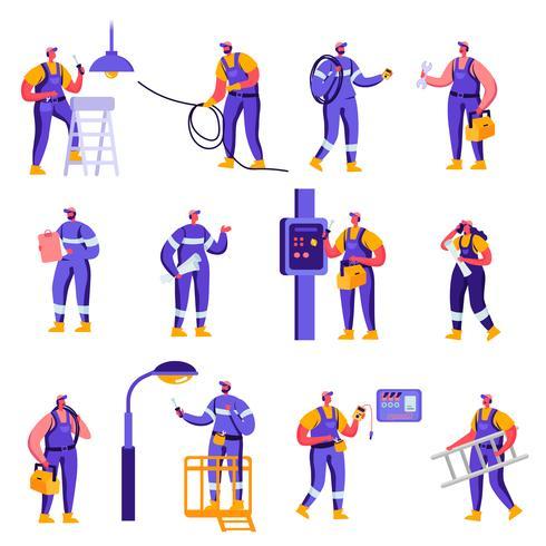 Conjunto de indústria plana e Smart Home manutenção trabalhadores caracteres de serviço. Pilão de controle de engenheiro de pessoas dos desenhos animados, painel Solar, manômetro, técnico de engenharia. Ilustração vetorial. vetor