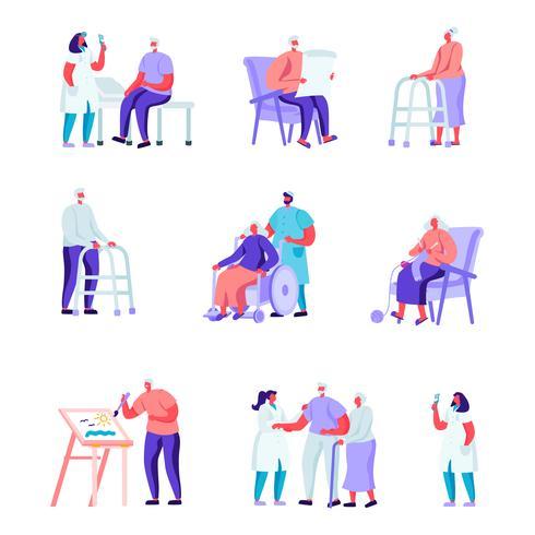 Conjunto de apartamento pessoas mais velhas em um lar de idosos, tendo caracteres de ajuda médica. Povos dos desenhos animados que têm o cuidado do passatempo das plantas, pintando, jogando a xadrez, fazendo malha. Ilustração vetorial. vetor