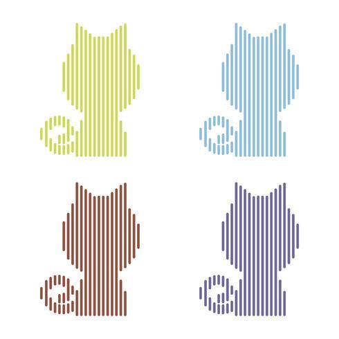Conjunto de gatos listrados coloridos em um fundo branco vetor