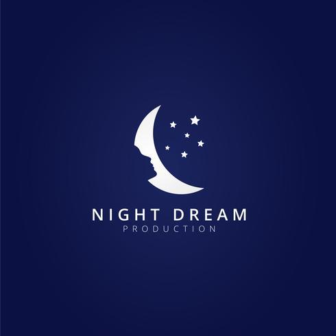 Modelo de logotipo de lua de sonho de noite vetor