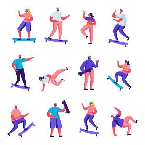Conjunto de meninas planas e meninos personagens de skate. Adolescente dos povos dos desenhos animados e placa de equitação fêmea do patim, dançando, saltando, cultura urbana da juventude. Ilustração vetorial. vetor