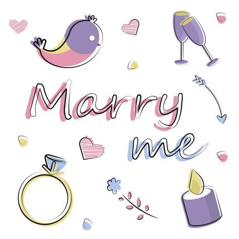 Conjunto de elementos planos vectoriais. Romance, amor, casamento, oferta vetor