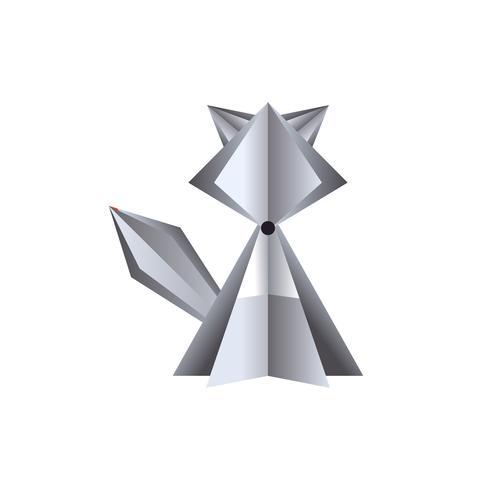lobo de vetor de papel em fundo branco