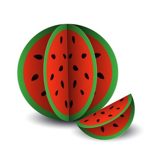 O papel exótico da fruta do verão tropical do vetor cortou volumétrico. Origami. Objeto isolado da cor no fundo branco. Melancia de baga vermelha e uma fatia