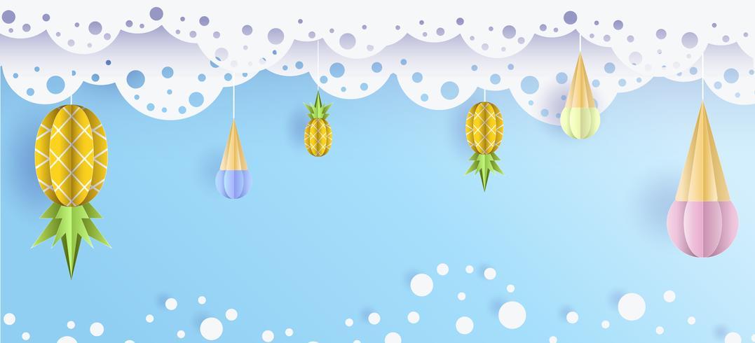 Vector verão fundo 3d papel cortado com laço, nuvens no céu, sorvete e abacaxi
