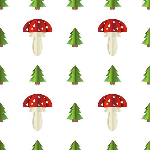 Padrão sem emenda colorido de cogumelos e abeto recortado em papel vetor