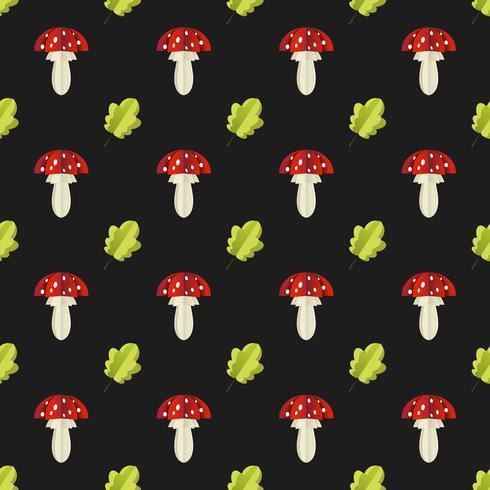 Padrão sem emenda colorido de cogumelos e folhas recortadas em papel vetor