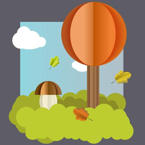 Vector outono paisagem, árvore, folhas de cogumelo.