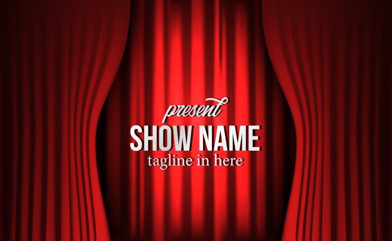 cortina de seda vermelha luxo vermelho no conceito de anúncio de banner de cartaz de teatro show vetor