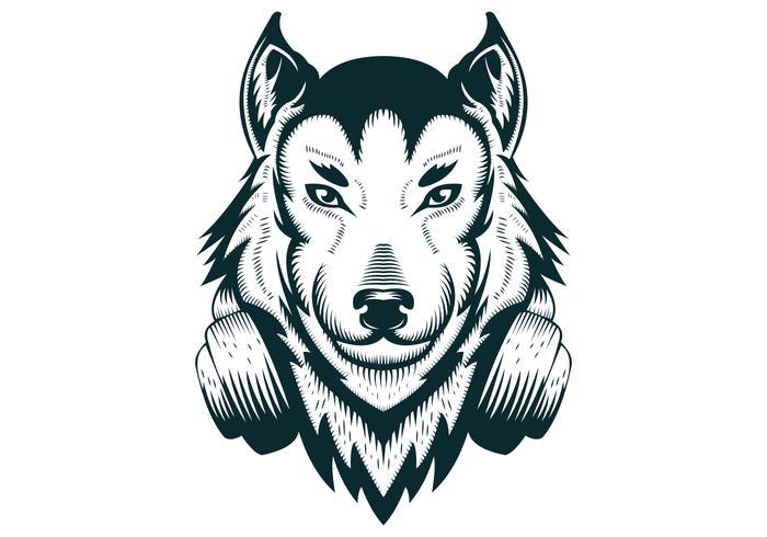 Ilustração do vetor de fones de ouvido de lobo