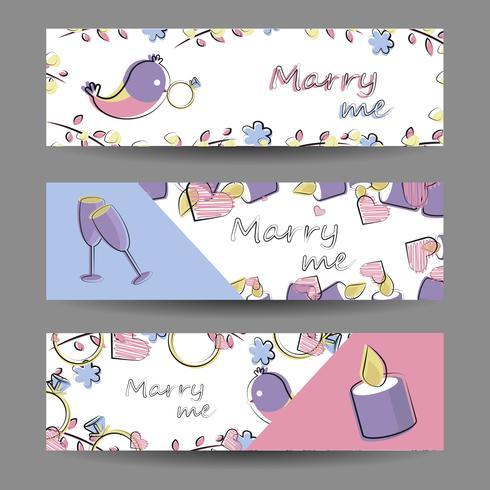 Conjunto de banners com elementos do vetor. Romance, amor, casamento vetor