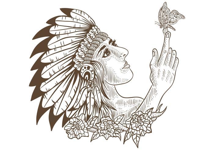 garota nativa americana e borboleta handdrawn vetor