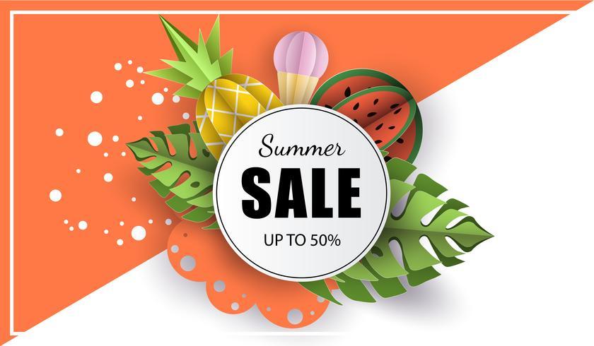 Vector verão fundo banner 3d papel cortado com sorvete. Abacaxi e melancia da fruta. Flyer para vendas publicitárias