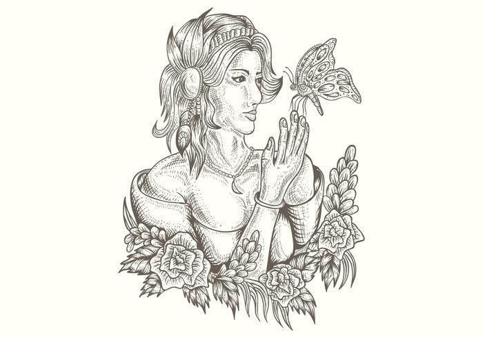 mulher e borboleta handdrawn ilustração vetorial vetor