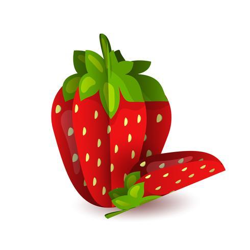 O papel exótico da fruta do verão tropical do vetor cortou volumétrico. Origami. Objeto isolado da cor no fundo branco. Morango saboroso vermelho e fatia