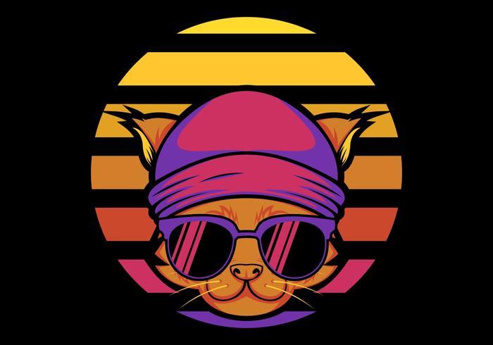 ilustração em vetor retrô gato