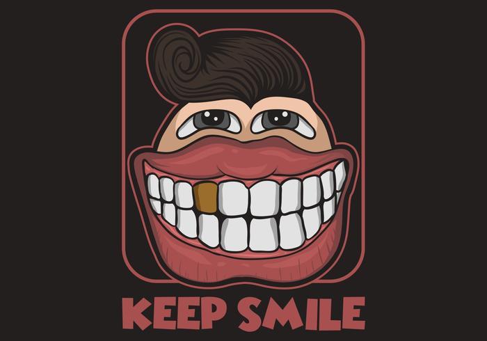 Grande sorriso cartoon ilustração vetorial vetor