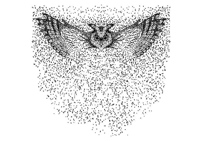 ilustração em vetor partícula coruja voar