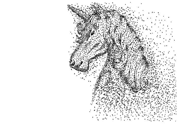 ilustração em vetor partícula cabeça de unicórnio