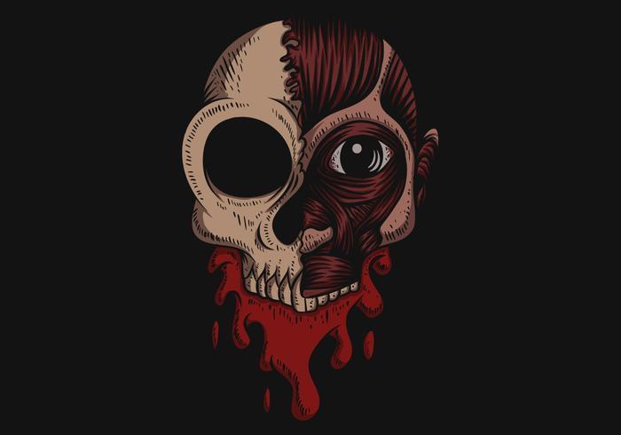 Ilustração em vetor crânio sem pele sangue