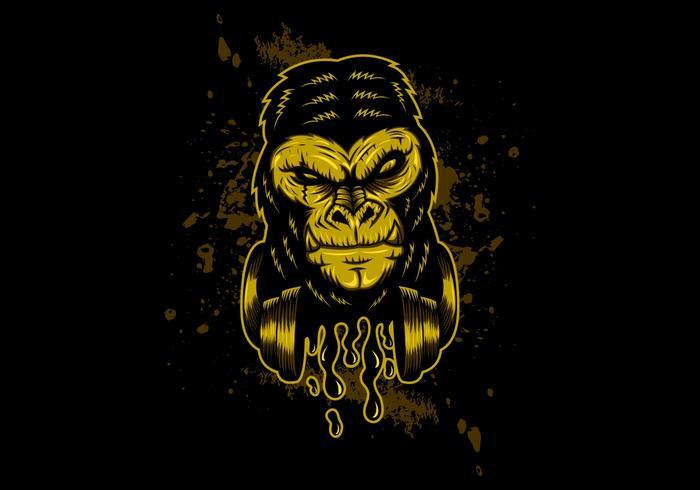 gorila de fone de ouvido de ouro vetor