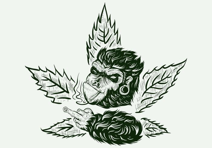 gorila cannabis handdrawn vetor