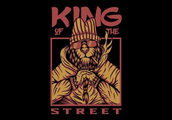 desenho de vetor de leão de rua de rei