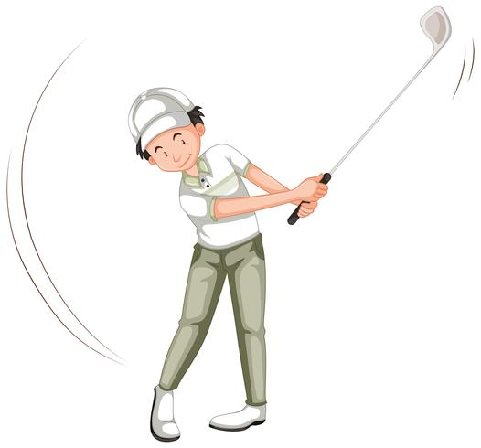 Um, golfer, personagem, branco, fundo vetor