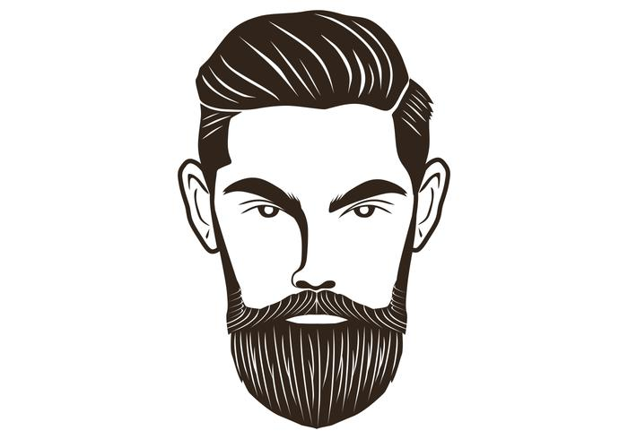 homem de barba de cabeça vetor