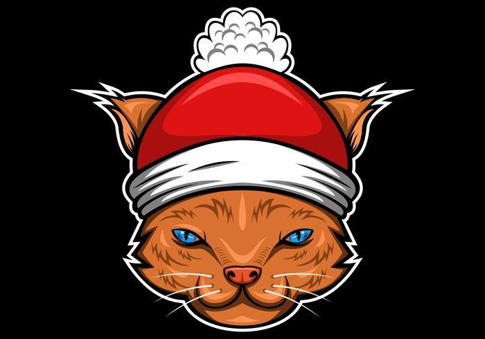 gato feliz natal vetor