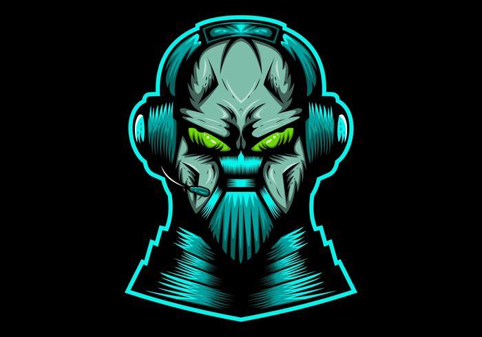 ilustração em vetor headphone streaming de monstro