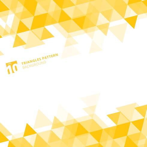 Triângulos amarelos abstratos geométricos no fundo branco. vetor