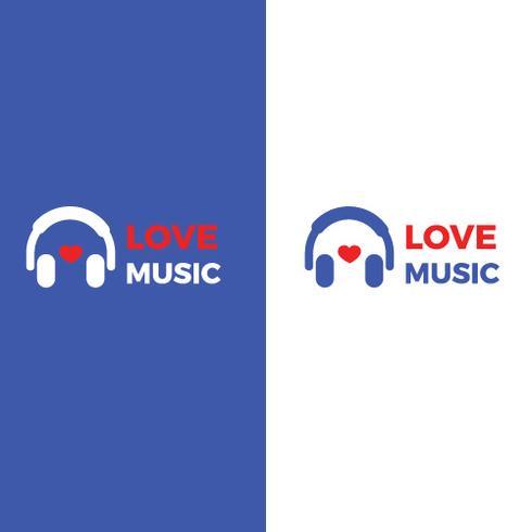 Logotipo com fones de ouvido. Amor pela música no fone de ouvido. Logotipo de gradiente de vetor on-line de rádio