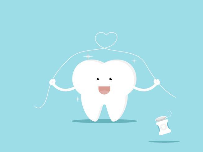 dente e fio dental ilustração em vetor dos desenhos animados