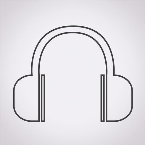Sinal de símbolo de ícone de fones de ouvido vetor
