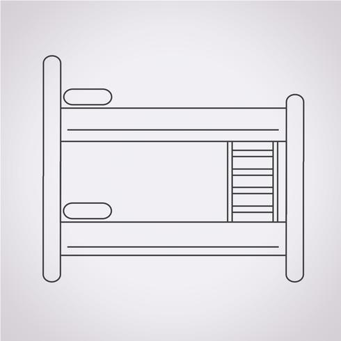 Sinal de símbolo de ícone de cama vetor