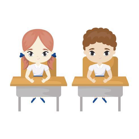 pequenos estudantes sentados em mesas de escola vetor