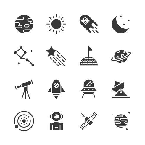 Conjunto de ícones de espaço. Ilustração vetorial vetor