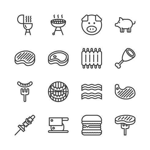 Conjunto de ícones relacionados a carne de porco. vetor